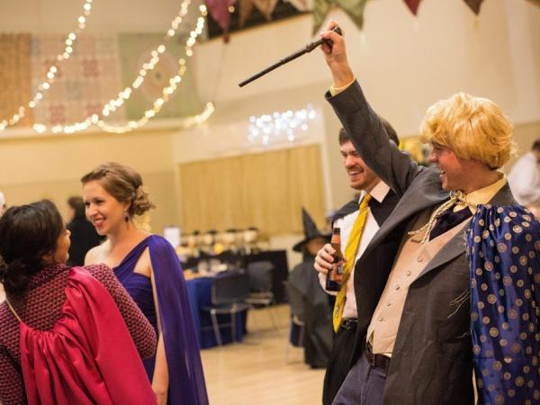 Brianna Wurtsmith's wedding guests act out the scene of Professor Lockhart cursing Professor Umbridge.