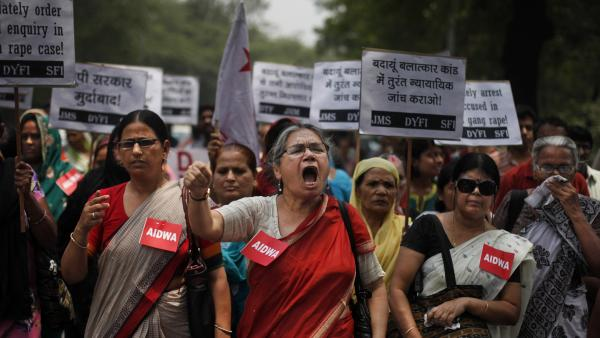 Women shout slogans during a protest against the gang rape and hanging of two teenage girls. Beyond highlighting the rampant sexual violence in India, the crimes are drawing attention to a glaring and fundamental problem across the country that threatens women's safety: the lack of toilets.