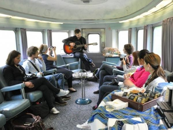 Guitar Car: Morgan MacDonald entertains passengers for VIA Rail Canada.