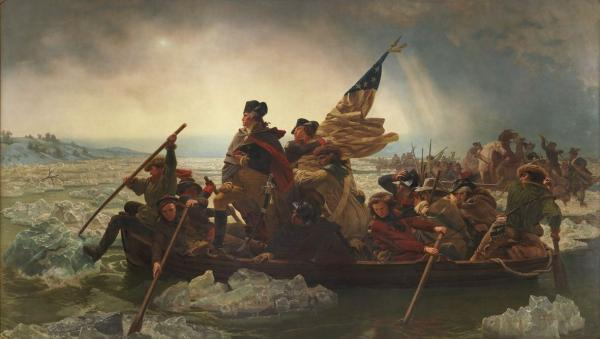 Worthington Whittredge was the model for George Washington in Emanuel Gottlieb Leutze's 1851 painting, <em>Washington Crossing the Delaware. </em>In an essay, Whittredge says he was chosen for the job because he was a good fit for the suit.