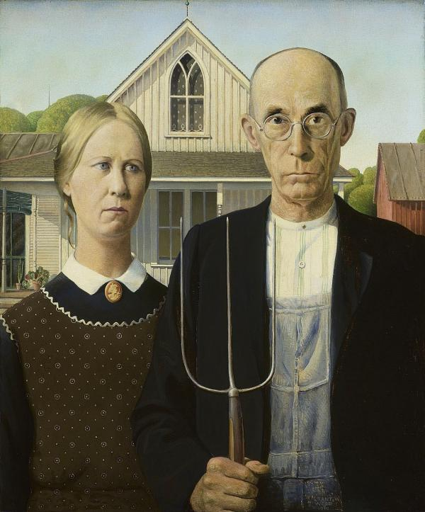 "In 1930, Grant Wood had his sister Nan pose for <em>American Gothic.</em> ""The public reaction to the painting was so rough on her that her brother Grant felt bad for her,"" curator Elizabeth Botten says."