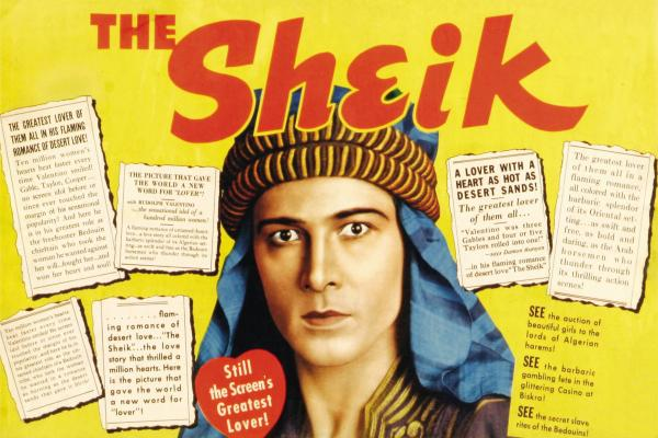 Rudolph Valentino on a poster for the movie <em>The Sheik,</em> 1921.