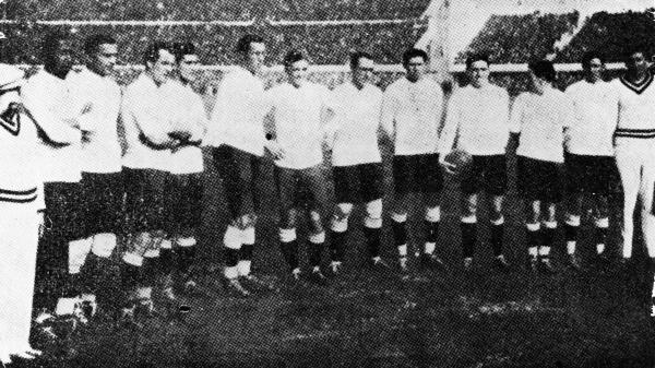 The Uraguayan football team, winners of the first World Cup competition, held in Uraguay, 1930.