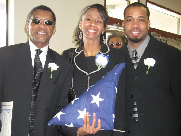 Sylvester Monroe (left) with daughter Sherita and son Jason in California, 2008.