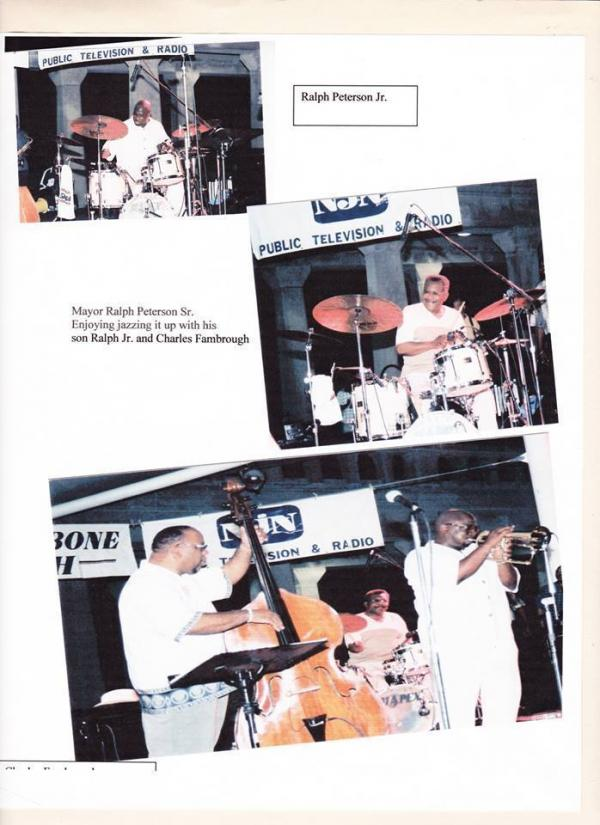 A scrapbook entry from Ralph Peterson Jr. shows him performing on trumpet with his father, Ralph Peterson Sr., on drums and Charles Fambrough on bass. In the top two photos, both Petersons take their turns behind the drum set.