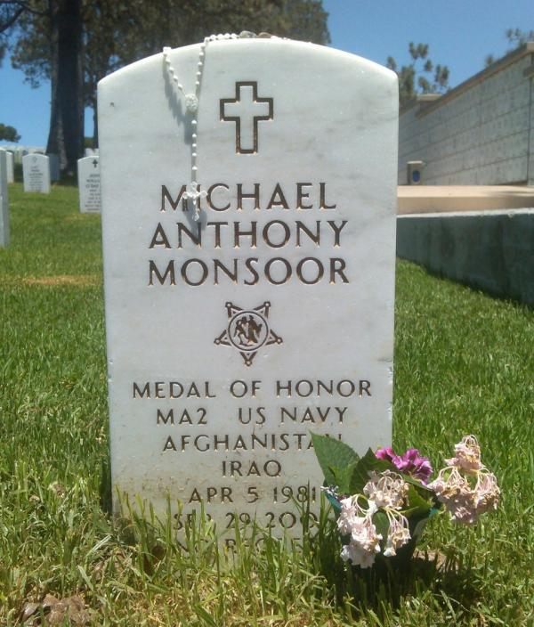 In September 2006, Navy Seal Michael Monsoor fell on a grenade to save the lives of two of his teammates and eight Iraqi soldiers. He died a few minutes later. (Alex Ashlock)
