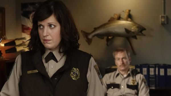 Allison Tolman as Molly Solverson and Bob Odenkirk as Bill Oswalt in <em>Fargo</em>.