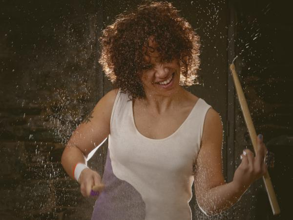 Drummer LaFrae Sci (seen here in a photo shoot for <em>Tom Tom</em> <em>Magazine</em>) says that even nonmusicians can benefit from learning to hear two rhythms at once.