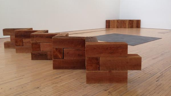 """Redan"" is one of the works of minimalist sculptor Carl Andre on display at his retrospective at the Dia Art Foundation in Beacon, N.Y."