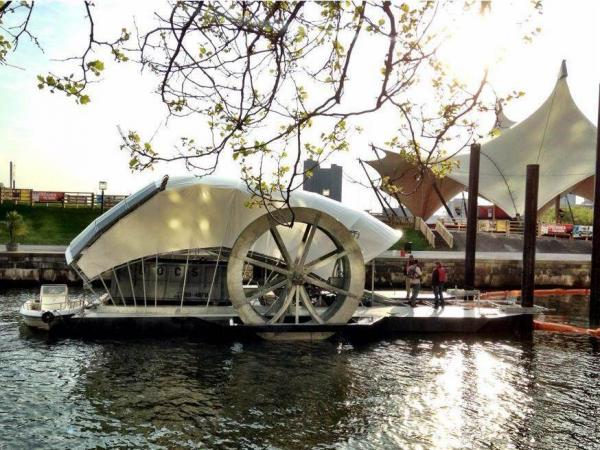 Since the water wheel began churning in May, it has removed 40 tons of trash from Baltimore's Inner Harbor.