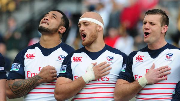 """The Star-Spangled Banner"" spans one and a half octaves. Above, Samu Manoa, Scott Lavalla and Cameron Dolan of the USA Eagles sing the anthem before the opening qualifying match of the 2015 Rugby World Cup."