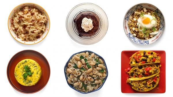 (Top left, clockwise) Macmen N' Cheese; chocolate ramen; udon and egg. (Bottom row) Ramen fritatta; cannellini beans and spinach; and southwest taco from the book <em>Rah! Rah! Ramen.</em>