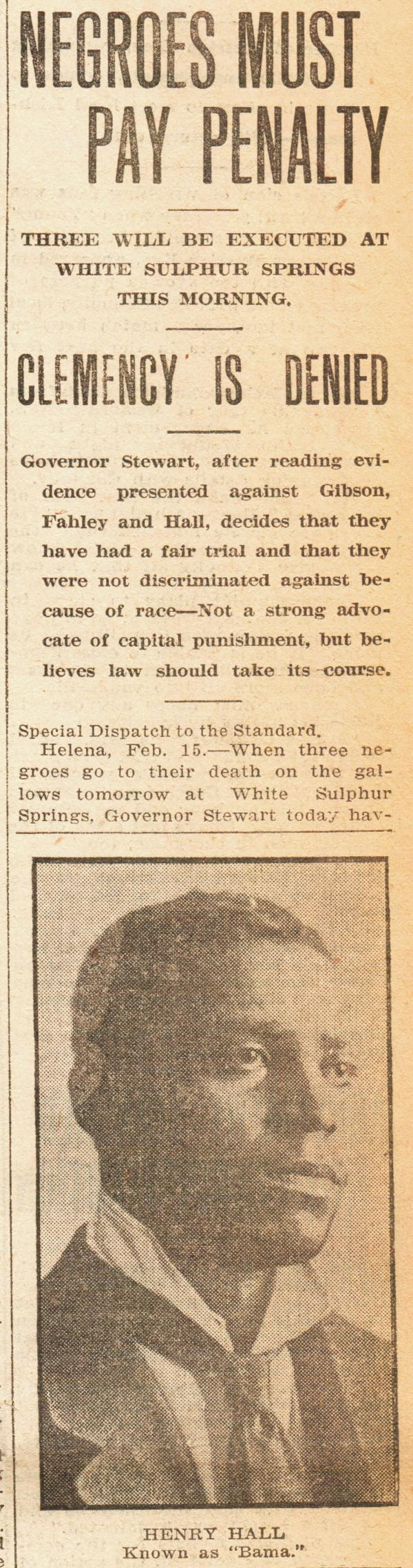 "The Race Card Project found a 1917 article from the <em>Anaconda Standard </em>detailing the governor's reasons for denying clemency to the three men. Read the <a href=""http://www.npr.org/assets/news/2014/07/race-card-zachary-newspaper.pdf"">full article here</a>."