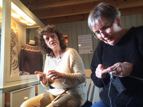 Shetland locals Marian Ockendon (left) and Wilma Johnson knit upstairs at the Shetland Textile Museum in Lerwick, Shetland's capital.