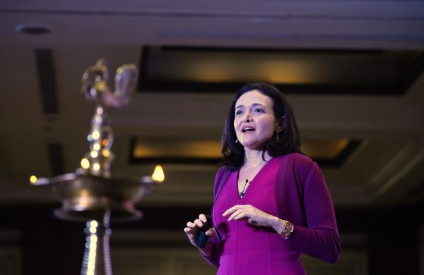 Facebook chief operating officer Sheryl Sandberg addresses an interactive session organized by the women's wing of the Federation of Indian Chambers of Commerce and Industry (FICCI) in New Delhi on Wednesday.