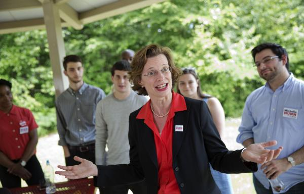 When it comes to the Supreme Court's <em>Hobby Lobby </em>ruling, Georgia Democratic Senate candidate Michelle Nunn must navigate between her state's conservative electorate and her national party.