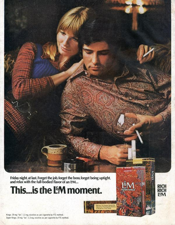 At the end of a long week, L&M offered smokers a way to kick back. L&M, 1970.