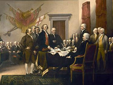 The Founding Fathers are depicted in the painting <em>Declaration of Independence</em>, by John Trumbull.