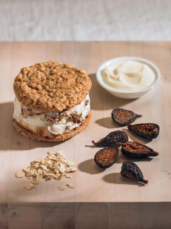 Balsamic fig marscapone ice cream sandwich.