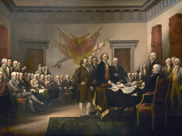 Thomas Jefferson, the principal author of the Declaration of Independence, is shown placing the document before John Hancock, president of the Congress, in this painting by John Trumbull.