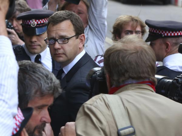 Former <em>News of the World</em> editor Andy Coulson arrives for the sentencing at the Old Bailey court house in London on Friday. He was jailed for 18 months for being complicit in phone-hacking by journalists at the Rupert Murdoch tabloid he edited.