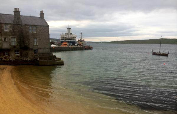 "Old stone houses abut the harbor in Lerwick, Shetland's largest town. Outsiders are known here as ""soothmoothers,"" because they arrive on the ferry through the south mouth of the Bressay Sound."