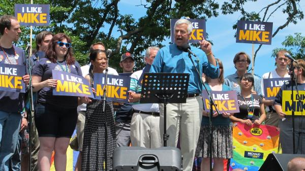 Democratic Rep. Mike Michaud speaks at the Pride Parade and Festival in Portland, Maine, on June 21. Michaud, who is openly gay, is running for governor with the backing of national LGBT groups.