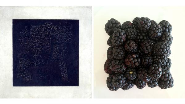 Kazimir Malevich's <em>Black Suprematic Square</em>; NPR's Beth Novey's <em>Blackberry Square</em>.