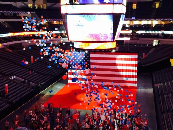 Dallas wooed the Republican National Convention committee with an extravagant balloon and confetti drop at American Airlines Center and several elephants, the Republican Party symbol.