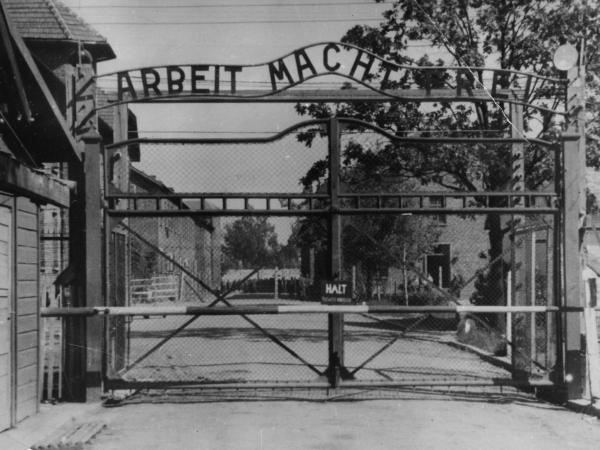 "The main gate of the Nazi concentration camp Auschwitz I in Poland, where Johann ""Hans"" Breyer served as a guard."