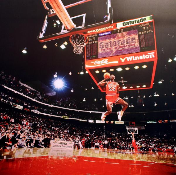 Jordan soars from the foul line during a dunk contest in 1988