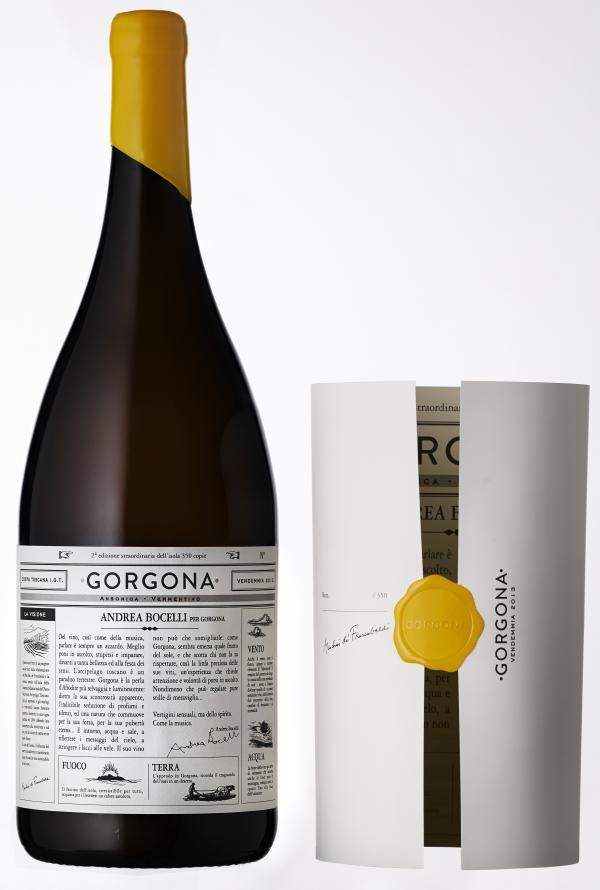 The 2013 Gorgona vintage label was written by tenor and singer-songwriter Andrea Bocelli, who is from the mainland of Tuscany.