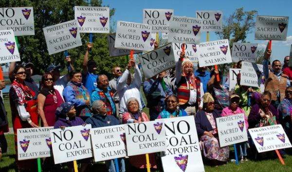 About 70 people gathered in May, 2014 to protest the proposed coal export facility in Boardman, Oregon. Yakama Nation and Lummi Nation tribal members spoke at a ceremony before people fished at treaty-protected fishing sites.