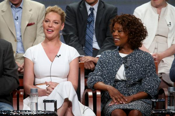 Katherine Heigl and Alfre Woodard, stars of NBC's new fall drama <em>State of Affairs</em>, speak at the Television Critics Association's summer press tour in Los Angeles.