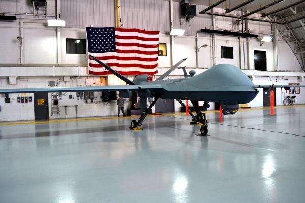 An MQ-9 Reaper drone in the hanger at Hancock Airfield in Syracuse. (File photo)