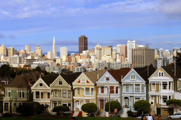 "According to real estate website Zillow, each of the Painted Ladies in San Francisco's ""Postcard Row"" is worth around $3 million. (Leonardo Stabile/Flickr)"