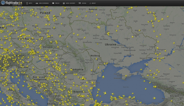 This screen grab from Flightradar24.com shows the pocket of open airspace above Ukraine after a Malaysia Airlines flight crashed in the eastern part of the country.