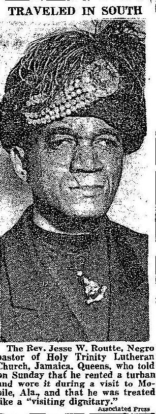 "A newspaper photo of the Rev. Jesse Routté after his ""turban trick"" in Alabama."