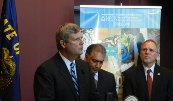 Secretary of Agriculture Tom Vilsack in Portland Thursday. He was in the Northwest to tout a new conservation program.