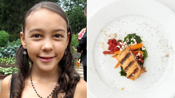 Kiana Farkash is an 8-year-old Healthy Lunchtime Challenge winner from Colorado who made grilled salmon with farro and warm Swiss chard salad.