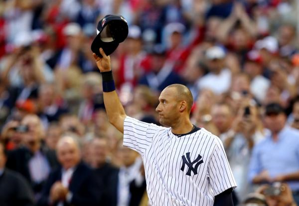 Derek Jeter went to 2-for-2 at the 2014 All-Star game, his 14th and final All-Star appearance.  (Elsa/Getty Images)