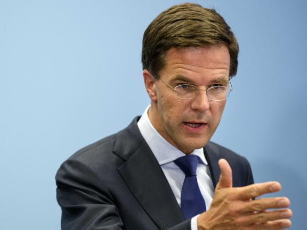 Dutch Prime Minister Mark Rutte during a news conference at the Ministry of Safety and Justice in The Hague, The Netherlands, on Friday. Rutte says he's shocked by the behavior of pro-Russian rebels at the MH17 crash site.