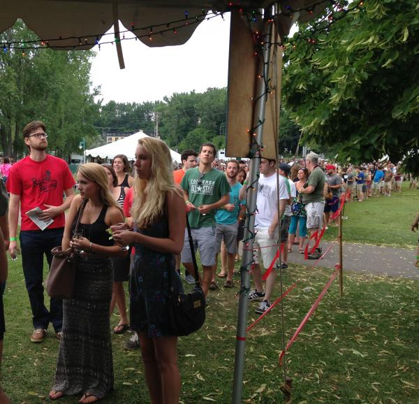 Beer enthusiasts line up for Lawson's Finest Liquids, one of the most popular offerings at the festival.