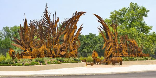 A massive procession of animals forms Paley's 2006 gateway to the St. Louis Zoo.