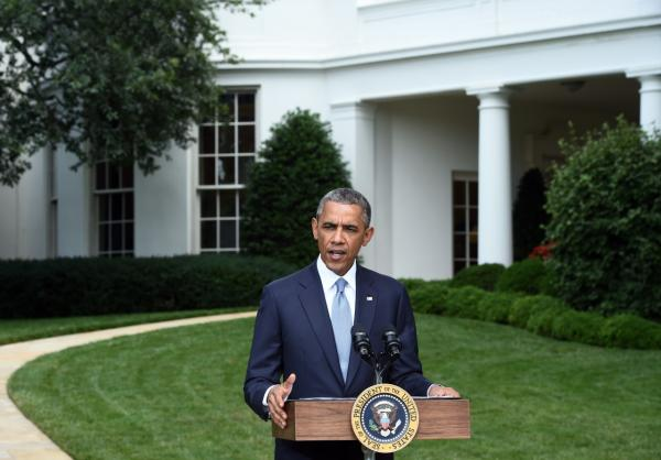 President Barack Obama speaks to the press outside the Oval Office at the White House in Washington, DC, on July 21, 2014. U.S. Secretary of State John Kerry is to push for an immediate ceasefire in Gaza when he arrives later Monday in Cairo, President Obama said. (Jewel Samad/AFP/Getty Images)