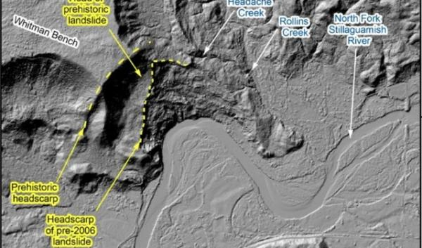 Lidar imagery from a new report shows a history of landslide activity, as well as the contributions of groundwater from nearby basins, such as Headache Creek, which may have weakened slope stability..