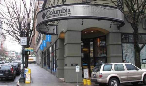The downtown Portland Columbia Sportswear store. The Oregon-headquartered company was fined for not labeling clothes that have been treated with pesticides, as required by federal law.