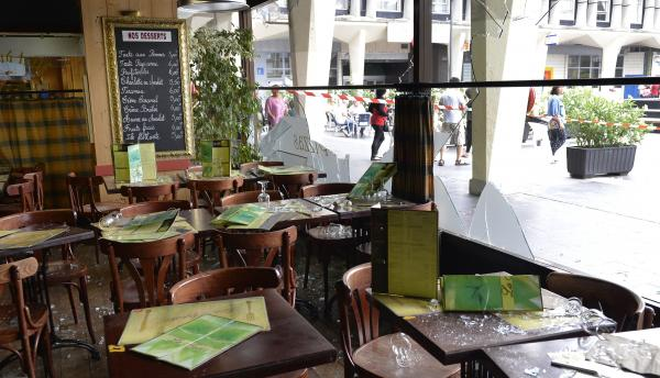 A restaurant in Sarcelles, a northern Paris suburb, is damaged after a July 20 rally against Israel's Gaza offensive descended into violence.