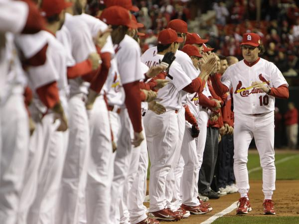 Former St. Louis Cardinals manager Tony La Russa is introduced before Game One of the World Series in 2011. La Russa will be inducted into the Baseball Hall of Fame on Sunday.