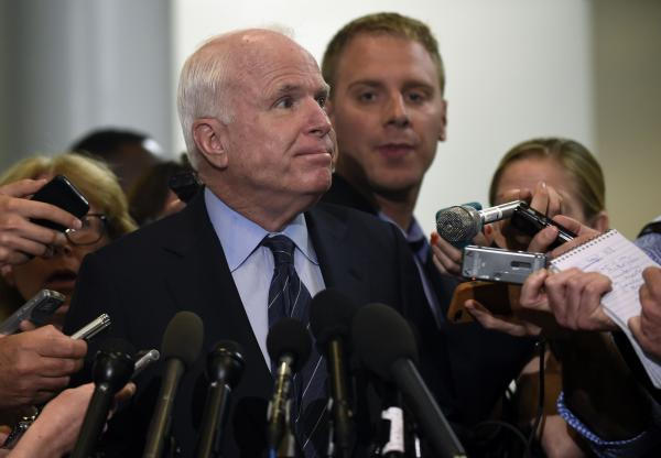 Sen. John McCain, R-Ariz. speaks to reporters on Capitol Hill.